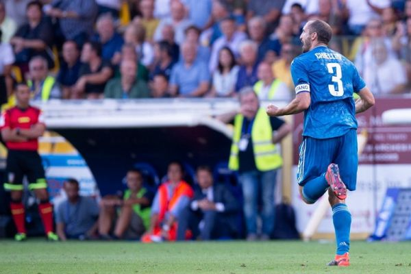 Giorgio Chiellini of Juventus FC celebrates scoring first goal during the Serie A match between Parma Calcio 1913 and Juventus at Stadio Ennio Tardini, Parma, Italy on 24 August 2019. PHOTO | AFP