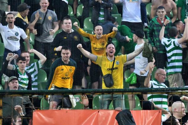 Glasgow supporters celebrate their team's goal during the UEFA Champions League first round qualifier match between Sarajevo and Celtic Glasgow, in Sarajevo, on July 9, 2019. PHOTO | AFP