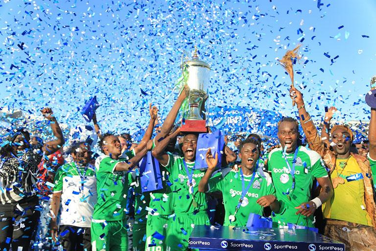 Gor Mahia FC celebrate lifting the 2018 SportPesa Cup on June 10, 2018. PHOTO/File