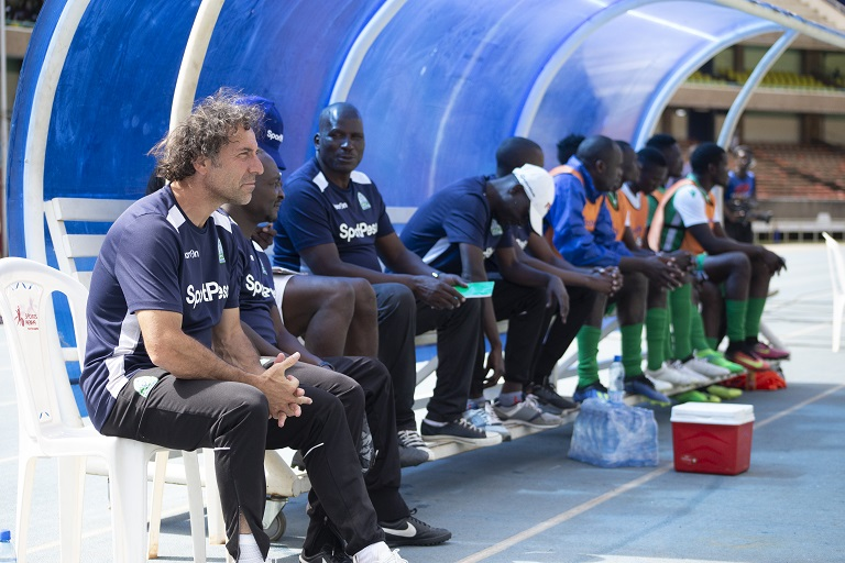Gor Mahia FC coach Hassan Oktay sits on the technical bench in the 1-1 draw against Mathare United FC at the Kasarani Stadium on Sunday, January 6, 2019. PHOTO/DuncanSirma/SPN