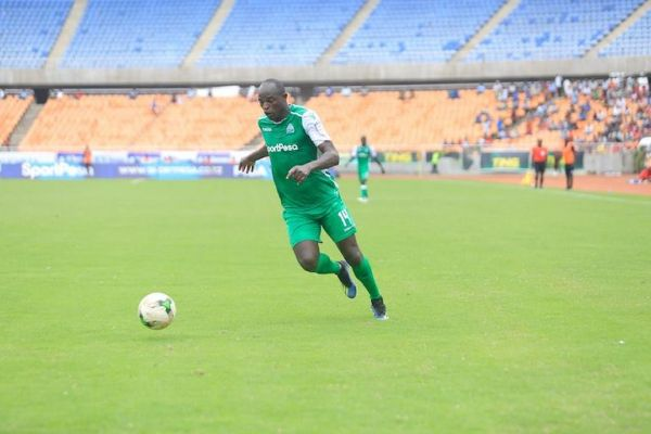 Gor Mahia FC forward, Dennis Oliech in action during the 2019 SportPesa Cup in Dar-es-Salaam, Tanzania. PHOTO/SPN