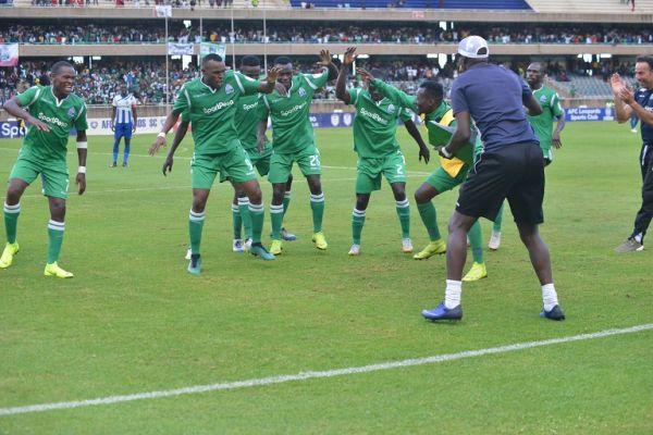 Gor Mahia FC players celebrate Jacques Tuyisenge's goal in the Mashemeji Derby against AFC Leopards SC at the Kasarani Stadium on Sunday, May 20, 2019. PHOTO/SPN