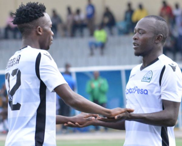 Gor Mahia FC players celebrate scoring against AS Port of Djibouti in their 2019 Cecafa Club Championship clash in Rubavu, Kigali on Wednesday, July 10, 2018. PHOTO/Gor Mahia FC