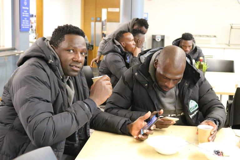 Gor Mahia FC players enjoy a meal at USM Finch Farm training complex in Liverpool on Saturday, November 3, 2018. PHOTO/SPN