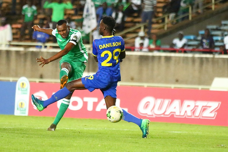 Gor Mahia FC striker Jacques Tuyisenge in action against Petro Atletico de Luanda at the Kasarani Stadium on Sunday, March 17, 2019. Gor Mahia won the game 1-0 to qualify for the CAF Confederations Cup quarterfinals. PHOTO/KellyAyodi