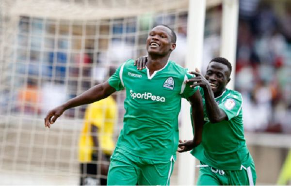 Gor Mahia forward Nicholas Kipkirui (left) celebrates scoring with team-mate Boniface Omondi during their Caf Champions League preliminary round return leg against Burundi's Aigle Noir at the Moi International Sports Centre, Kasarani on August 25, 2019. PHOTO |  NATION MEDIA GROUP