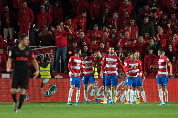 Granada's players celebrate Granada's Spanish defender German Sanchez' goal during the Spanish league football match Granada FC against Club Atletico de Madrid at Nuevo Los Carmenes stadium in Granada on November 23, 2019. PHOTO | AFP