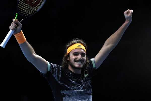 Greece's Stefanos Tsitsipas celebrates victory against Germany's Alexander Zverev during their men's singles round-robin match on day four of the ATP World Tour Finals tennis tournament at the O2 Arena in London on November 13, 2019. Greece's Stefanos Tsitsipas beat Germany's Alexander Zverev 6-3; 6-2. PHOTO | AFP