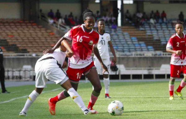 Harambee Starlets in previous action at the Kasarani Stadium in Nairobi. PHOTO | Twitter