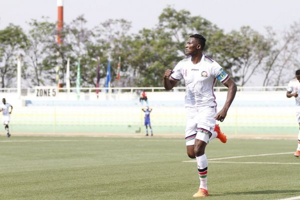 Harambee Stars captain Michael Olunga celebrates after scoring against Rwanda in a 2022 World Cup Qualifier in Kigali on Sunday, September 5, 2021. PHOTO   Harambee Stars Twitter