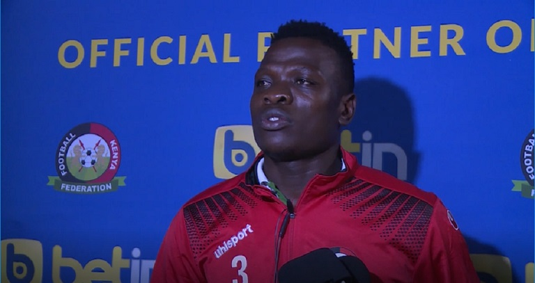Harambee Stars goal keeper, Patrick Matasi speaks after the team landed back to the country on Monday, March 25, 2019. PHOTO/FKF