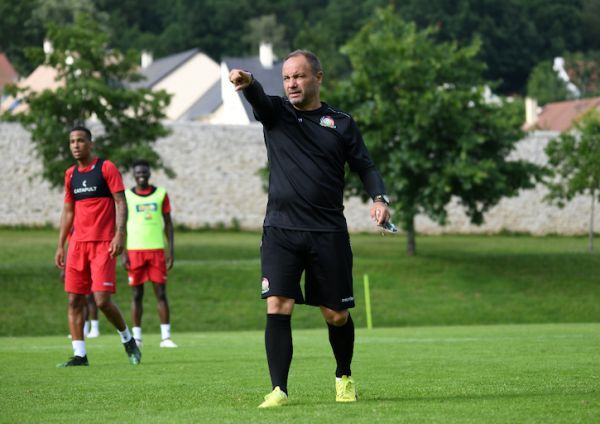 Harambee Stars head coach Sebastien Migne in training at the team's base in France. PHOTO/Courtesy/FKF