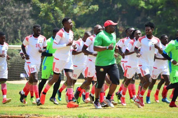 Harambee Stars players at a training session in Nairobi. PHOTO | Harambee Stars