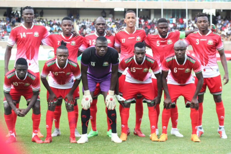 Harambee Stars players pose for a team photo prior to their Africa Cup of Nations Qualifier against Ghana on Saturday September 8, 2018, at the MISC Kasarani. PHOTO/FKF