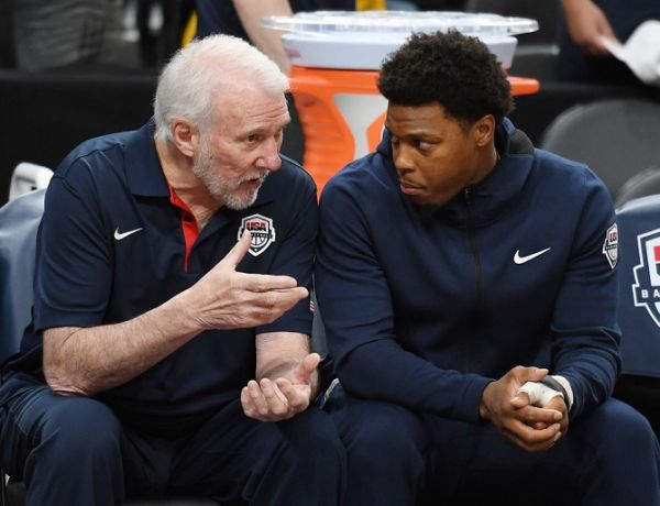 Head coach Gregg Popovich (L) of the 2019 USA Men's National Team talks with Kyle Lowry #51 of the 2019 USA Men's National Team before the 2019 USA Basketball Men's National Team Blue-White exhibition game at T-Mobile Arena on August 9, 2019 in Las Vegas, Nevada. PHOTO | AFP