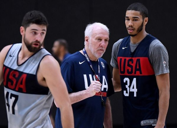 Head coach Gregg Popovich speaks with Jayson Tatum #34 between Joe Harris #47 during the 2019 USA Men's National Team World Cup training camp at UCLA Health Training Center on August 13, 2019 in El Segundo, California. PHOTO | AFP