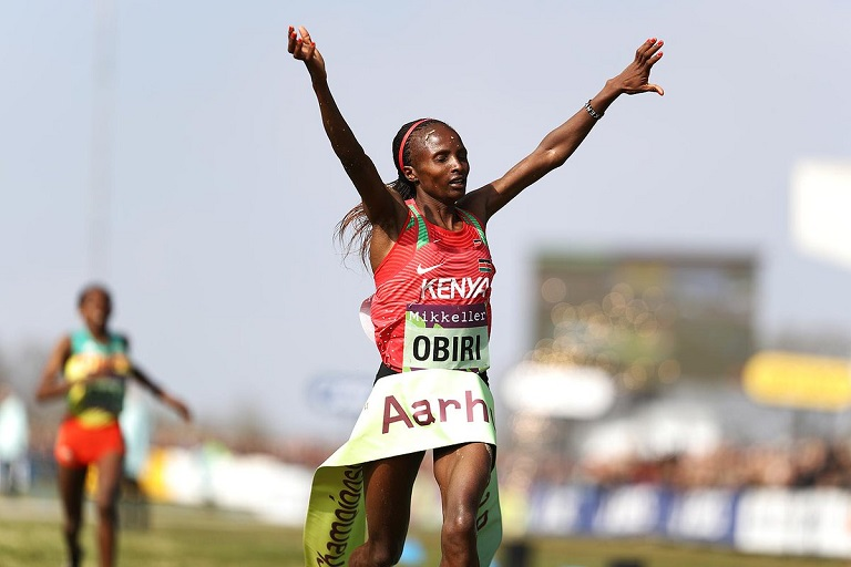 Hellen Obiri celebrates winning the women 10km senior race at Aarhus 2019 IAAF World Cross on Saturday, March 30, 2019. PHOTO/IAAF