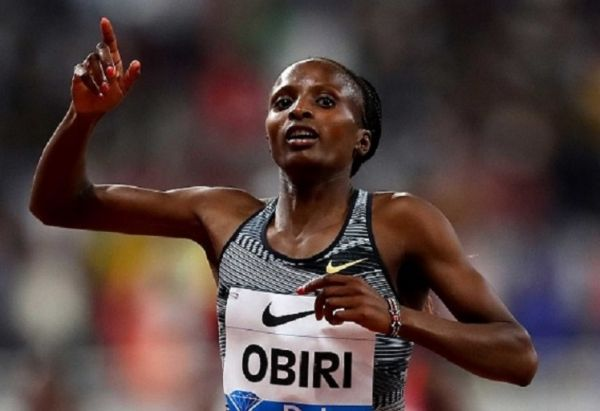 Hellen Obiri of Kenya celebrates winning the Women's 3000 meters during the IAAF Diamond League event at the Khalifa International Stadium on May 03, 2019 in Doha, Qatar. PHOTO/ GETTY IMAGES