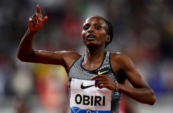 Hellen Obiri of Kenya celebrates winning the Women's 3000 meters during the IAAF Diamond League event at the Khalifa International Stadium on May 03, 2019 in Doha, Qatar.PHOTO/ GETTY IMAGES