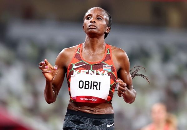 Hellen Obiri of Kenya reacts after finishing second.