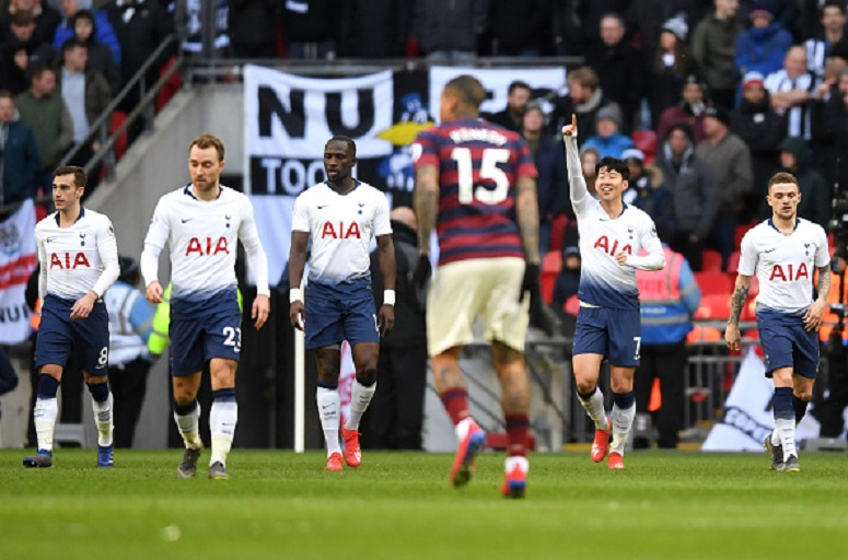 Heung-Min Son of Tottenham Hotspur celebrates after scoring his team's first goal during the Premier League match between Tottenham Hotspur and Newcastle United at Wembley Stadium on February 2, 2019 in London, United Kingdom. PHOTO/AFP