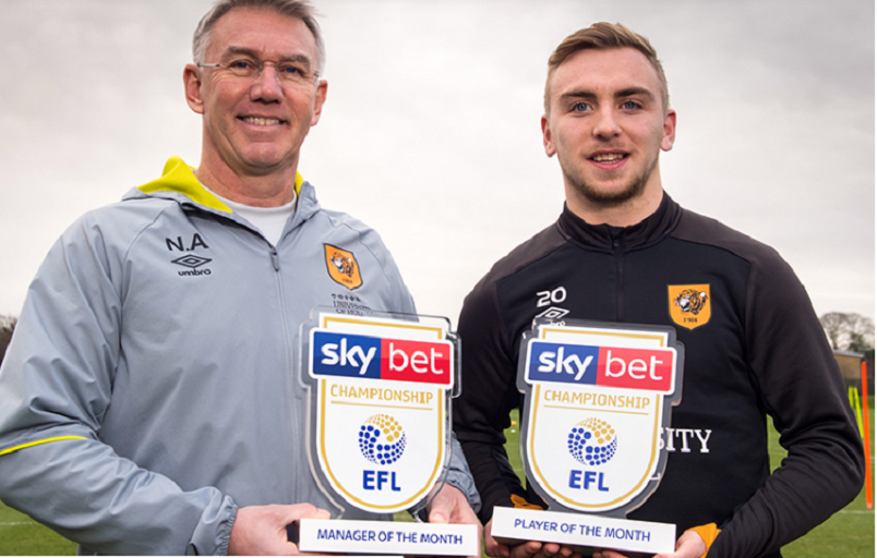 Hull City FC manager Nigel Adkins and top scorer Jarrod Bowen pose with their individual awards on Friday, January 11, 2019. PHOTO/HullCityFC