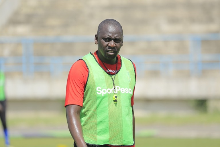 IN THE BLUE CORNER: Bandari FC head coach Bernard Mwalala pictured during his team's coaching session on the eve of the 2019 SportPesa Cup final on January 26, 2019 at the Uhuru Stadium, Dar-es-Salaam, Tanzania. PHOTO/SPN