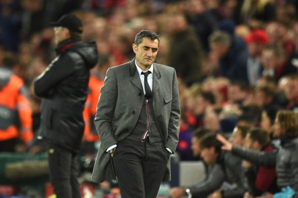 In this file photo taken on May 07, 2019 Barcelona's Spanish coach Ernesto Valverde reacts during the UEFA Champions league semi-final second leg football match between Liverpool and Barcelona at Anfield in Liverpool, north west England on May 7, 2019. Barcelona are set to sack their coach Ernesto Valverde, according to reports in the Spanish press. Valverde took training on January 13, 2020 but his future looks bleak, with the club expected to announce his departure following a board meeting in the afternoon at Camp Nou. PHOTO | AFP