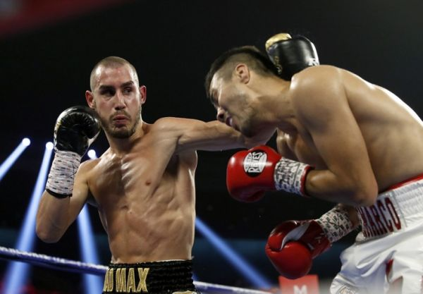 In this file photo taken on October 20, 2018, Maxim Dadashev (L) of Russia battles with Antonio de Marco of Mexico during a super lightweight bout in Las Vegas. Dadashev has died from injuries sustained in a fight in Maryland, the Russian boxing federation announced on July 23, 2019. PHOTO | AFP