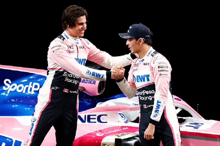 In this handout from Sportpesa Racing Point F1 Team, ,SportPesa Racing Point F1 Team unveil their new livery with drivers Lance Stroll (l) and Sergio Perez including new title partner, Liverpool, UK-based SportPesa at the Canadian International Motorshow. PHOTO/GettyImages