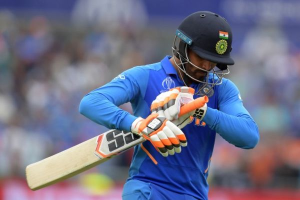 India's Ravindra Jadeja walks off for 77 during the 2019 Cricket World Cup first semi-final between New Zealand and India at Old Trafford in Manchester, northwest England, on July 10, 2019. PHOTO | AFP