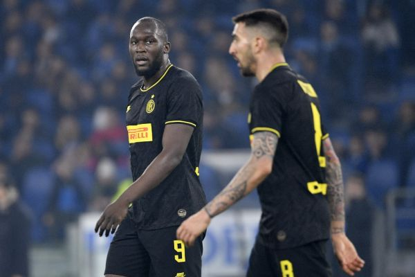 Inter Milan's Belgian forward Romelu Lukaku (L) reacts at the end of the Italian Serie A football match Lazio Rome vs Inter Milan on February 16, 2020 at the Olympic stadium in Rome. PHOTO | AFP