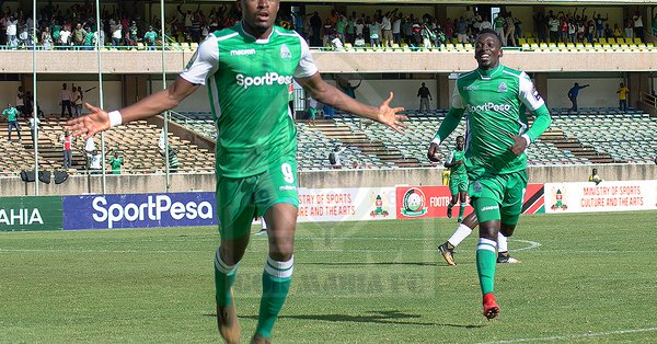 Jacques Tuyisenge celebrates scoring against Lobi Stars FC of Nigeria in their CAF Champions League first round clash in Nairobi. PHOTO/File
