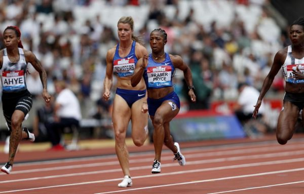 Jamaica's Shelly-Ann Fraser-Pryce (R) and Netherlands' Dafne Schippers compete in the Women's 100m Heat A event during the the IAAF Diamond League Anniversary Games athletics meeting at the London Stadium in London on July 21, 2019. PHOTO | AFP