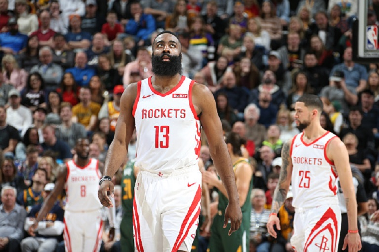 James Harden #13 of the Houston Rockets looks on during the game against the Utah Jazz on February 2, 2019 at Vivint Smart Home Arena in Salt Lake City, Utah.PHOTO/GETTY IMAGES