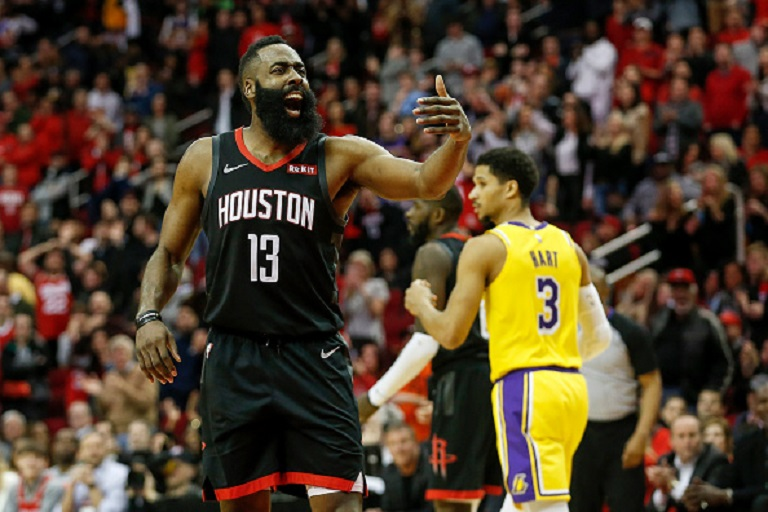 James Harden #13 of the Houston Rockets reacts in overtime against the Los Angeles Lakers at Toyota Center on January 19, 2019 in Houston, Texas. PHOTO/GettyImages