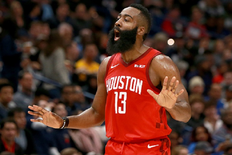 James Harden #13 of the Houston Rockets reacts to a call during a NBA game against the New Orleans Pelicans at the Smoothie King Center on December 29, 2018 in New Orleans, Louisiana. PHOTO/GettyImages