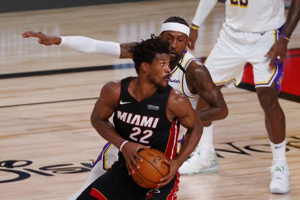 Jimmy Butler #22 of the Miami Heat dribbles during the second half against the Los Angeles Lakers in Game Three of the 2020 NBA Finals at AdventHealth Arena at ESPN Wide World Of Sports Complex on October 04, 2020 in Lake Buena Vista, Florida. PHOTO | AFP