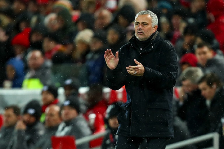 Jose Mourinho the head coach / manager of Manchester United during the Premier League match between Liverpool FC and Manchester United at Anfield on December 16, 2018 in Liverpool, United Kingdom.PHOTO/GETTY IMAGES