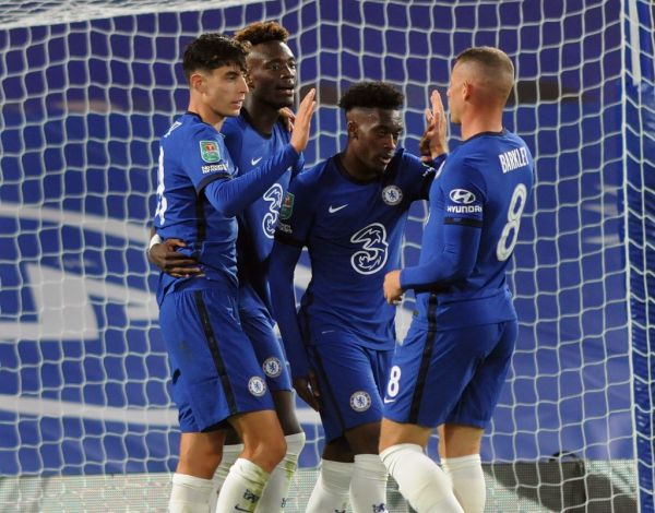 Kai Havertz of Chelsea, celebrates his goal with Hudson - Odoi and Ross Barkley during the English League Cup, EFL Carabao Cup, Round 3 football match between Chelsea and Barnsley on September 23, 2020 at Stamford Bridge in London, England. PHOTO   AFP