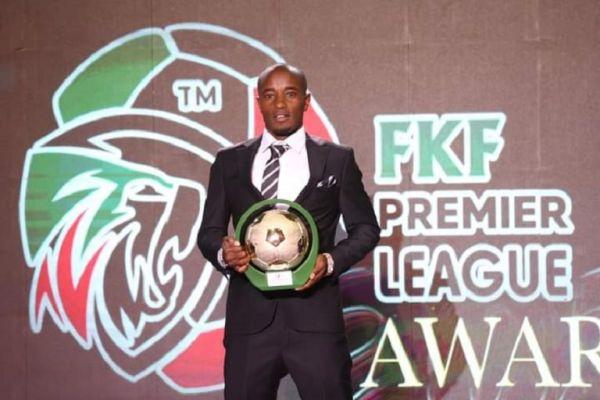 Kariobangi Sharks forward Erick Kapaito poses with his award during the Kenya Premier League Gala Award on Tuesday, September 15, 2021. PHOTO   Courtesy