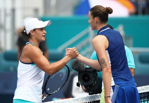 Karolina Pliskova of Czech Republic congratulates Ashleigh Barty of Australia in the final during day thirteen of the Miami Open tennis on March 30, 2019 in Miami Gardens, Florida. PHOTO | AFP