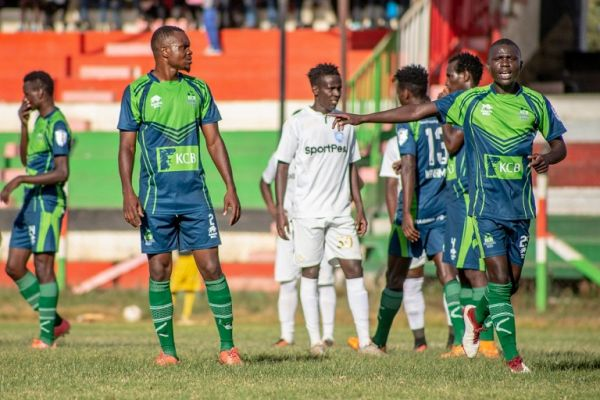 KCB FC players in action during their SportPesa Premier League match against AFC Leopards SC at the Afraha Stadium in Nakuru on Saturday, January 12, 2019. The bankers won the match 1-0. PHOTO/SPN