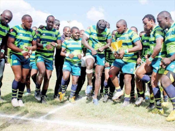 KCB RFC players celebrate their Kenya Cup victory. PHOTO   TheStar