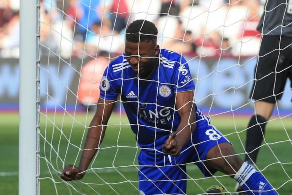 Kelechi Iheanacho of Leicester City after his miss on goal during the Premier League match between West Ham United and Leicester City at the Boleyn Ground, London on Saturday 20th April 2019. PHOTO/AFP