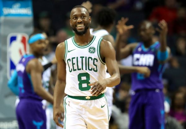 Kemba Walker #8 of the Boston Celtics reacts after a play against the Charlotte Hornets during their game at Spectrum Center on November 07, 2019 in Charlotte, North Carolina. PHOTO | AFP