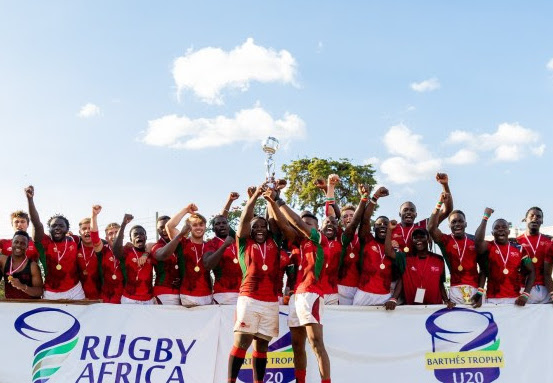 Kenya Chipus lift the 2019 Barthes Trophy Cup at KCB Sports Club, Nairobi on April 7, 2019. PHOTO/KRU
