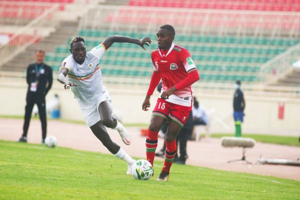 Kenya in action against Uganda in a 2022 World Cup Qualifier at the Nyayo National Stadium on Wednesday, September 2, 2021. PHOTO   Harambee Stars