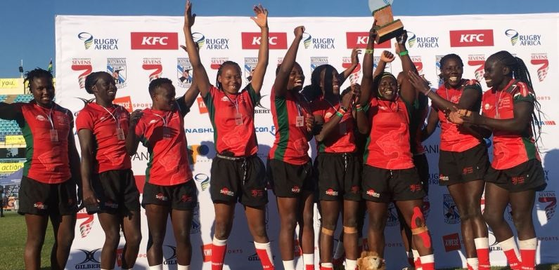 Kenya Lionesses celebrates after thrashing Uganda 29-7 in the final to win Rugby Africa Women's Sevens Cup in Gaborone, Botswana in May 2018.PHOTO/KRU