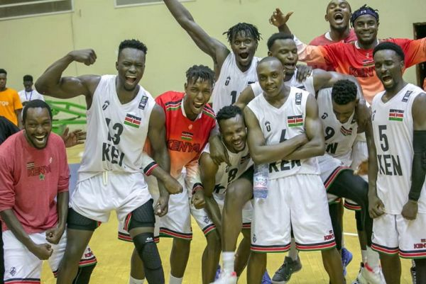 Kenya Morans celebrate after overcoming The Elephants of Ivory Coast 85-83 in the quarters of the ongoing 2019 FIBA AfroCan Basketball Championships in Mali, Bamako on July 24, 2019. PHOTO/KBF